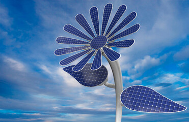 Close-up to a flower shaped solar panel with white petals, leaves and long stem with blue sky background. 3D Illustration
