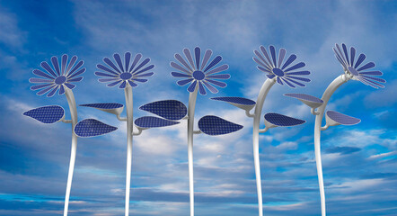 Front view of 5 flower shaped solar panels with petals, leaves and long white stem with blue sky background. 3D Illustration
