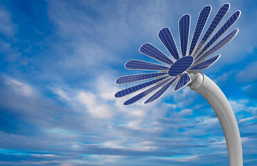 Close-up to a flower shaped solar panel with petals and long white stem with blue sky background. 3D Illustration