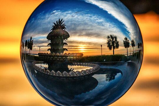 glass ball view pineapple fountain sunrise