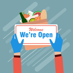 We're Open, sign for food delivery ,new normal for social distance concept