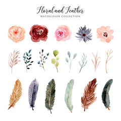 beautiful floral and feather watercolor collection