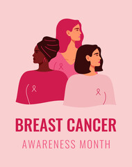 Three women with pink ribbons of different nationalities standing together. Breast cancer awareness prevention month banner. Concept of support and solidarity with females fighting oncological disease