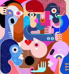 Large group of people graphic illustration. Modern abstract fine art painting.