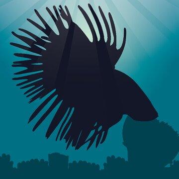 betta fish silhouette