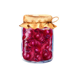 Cherry jam in glass jar. Watercolor food illustration