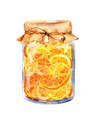 Orange jam - glass jar with citrus slices. Watercolor food