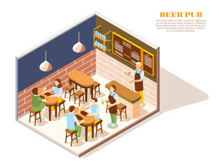 Beer Pub Isometric Composition