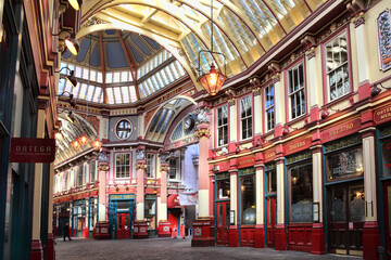 London, UK, March 19, 2011 :  Leadenhall Market in Gracechurch Street which has a covered roof and sells mainly food products is a popular travel destination attraction in the city centre