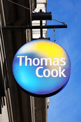 London, UK, February 27, 2011 : Thomas Cook logo advertising sign outside its travel agency store at Marble Arch Oxford Street