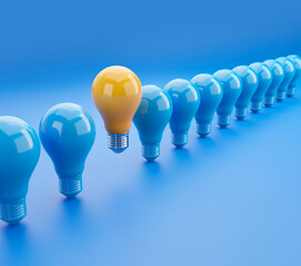 Outstanding glowing yellow light bulb among blue light bulbs 3D illustration with clipping path. 3D rendering