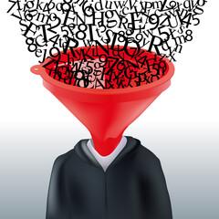 Concept du savoir et de la connaissance avec un élève dont la tête a été remplacé par un entonnoir, par lequel entre une multitude de lettres et de chiffres.