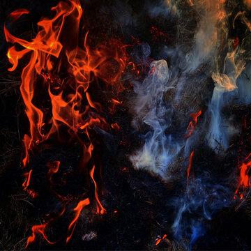 Smoke and Fire Flames