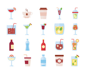 bundle of drinks collection set icons