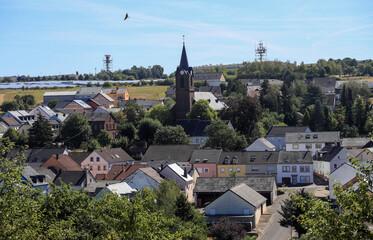 Radar towers of the U.S. Spangdahlem Air Base are seen near the village of Spangdahlem, near Bitburg