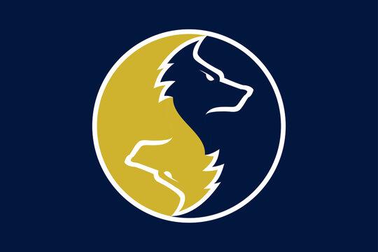 2 wolves in zen yin yang symbol