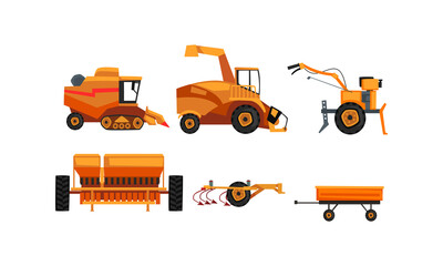 Agricultural Machinery Set, Farm Vehicles for Land Agricultural Processing Flat Style Vector Illustration
