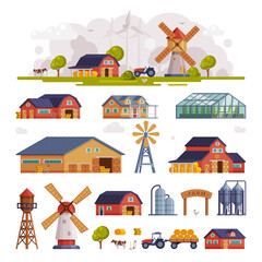 Rural Buildings and Agricultural Objects Set, Summer Farm Scene with Red Barn and Windmill, Agriculture and Farming Concept Cartoon Vector Illustration