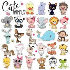 Photo sur Plexiglas Echelle de hauteur Set of Cute Cartoon Animals
