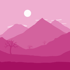 Spoed Foto op Canvas Roze Moon Rising over Mountains