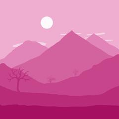 Printed kitchen splashbacks Pink Moon Rising over Mountains