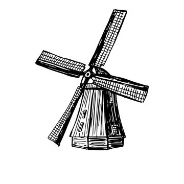 Wind mill, windmill hand drawn sketch vector engraved illustration. Old building emblem, logo, banner, badge for poster, web, mobile, icon, packaging