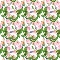 seamless pattern with flowers and leaves. Endless texture for your design.