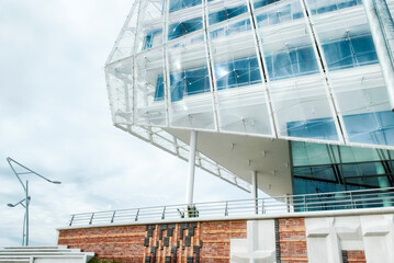 Fragment of a modern building. Contemporary architecture in Hamburg, Germany