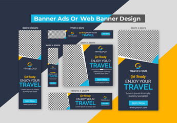 Creative Dark Blue, Yellow & Blue Travel Banner Ads or Web Banners Design Template