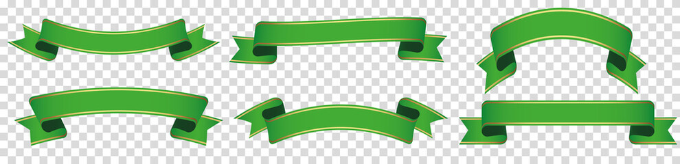 set of green ribbon banner label on transparent background Fototapete