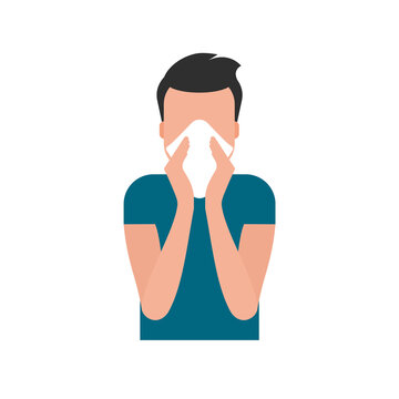 Young man blowing his nose in paper tissue. Cover your sneeze or cough with napkin. Coronavirus protection. Infectious disease prevention. Stop COVID-19 spreading. Vector illustration, flat, clip art.