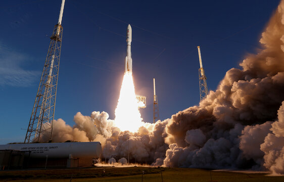 A United Launch Alliance Atlas V rocket carrying NASA's Mars 2020 Perseverance Rover vehicle lifts off from the Cape Canaveral Air Force Station