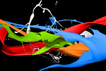 Colored paint splashes isolated on black background