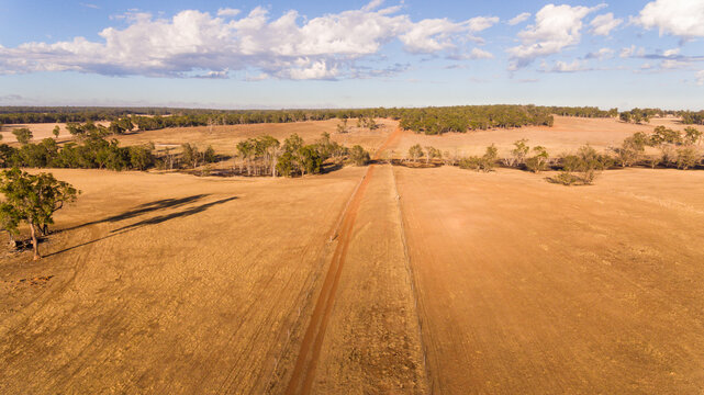 Farm road on rural property aerial photo