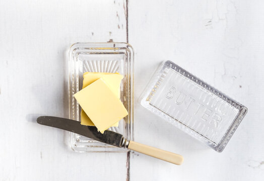 Fresh butter in a butter dish.