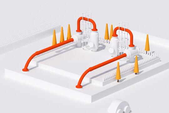 3D rendering white compressor station illustration