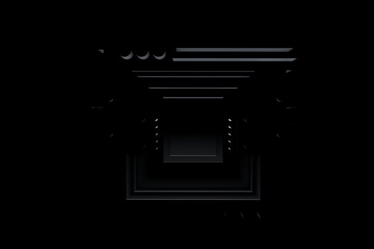 3D rendering black abstract motherboard illustration