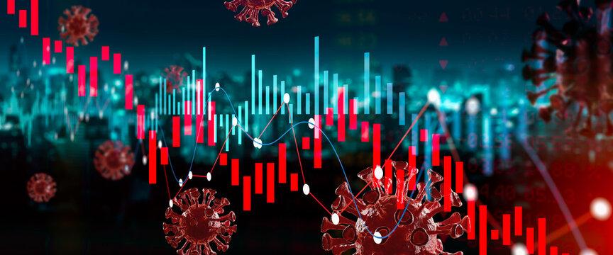 Coronavirus impact global economy stock market financial crisis concept.Growth of the stock market.Graphs representing the stock market crash caused by the Coronavirus.
