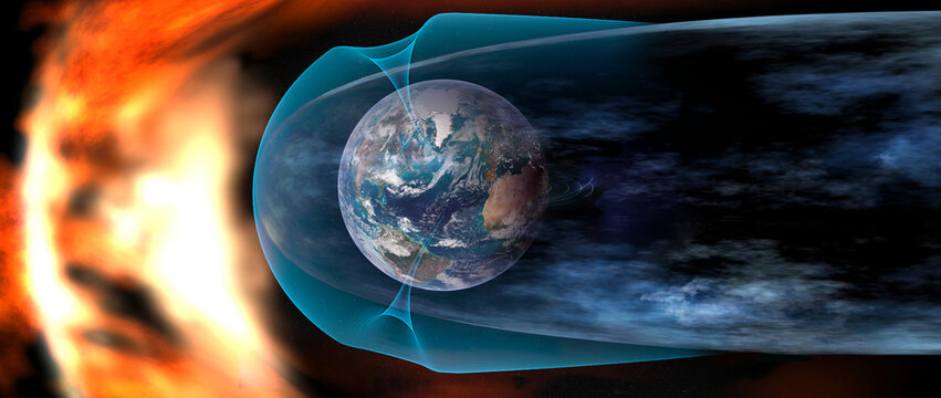 Protect the Earth from solar wind, solar wind colliding with earth's magnetic field. Elements of this image furnished by NASA.