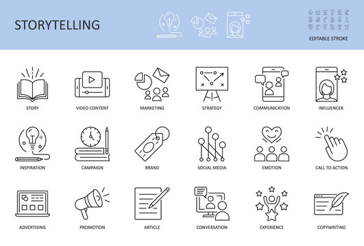 Vector storytelling icons. Editable stroke. Story content marketing strategy, campaign advertising brand social media. Conversation promotion article inspiration, copywriting call to action influencer