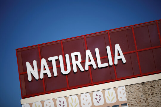 Naturalia's logo is seen outside of the organic foods grocery store, operated by Casino Group, in Bretigny-sur-Orge