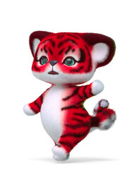 cute tiger cartoon passing by in white background