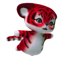 cute tiger cartoon flying in white background