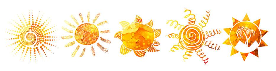 Set Symbols bright colorful funny sun. T-shirt print. Mixed media. Vector Illustration.