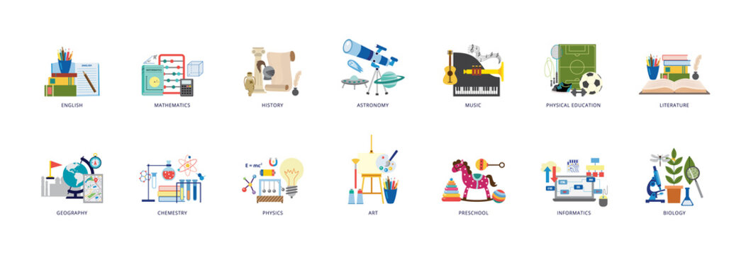 Education icons of school lesson subjects set flat vector illustration isolated.