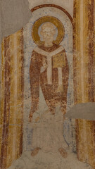 Romanesque mural of a blessing archbishop