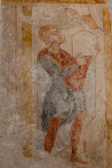 Donor with a church model, Romanesque mural