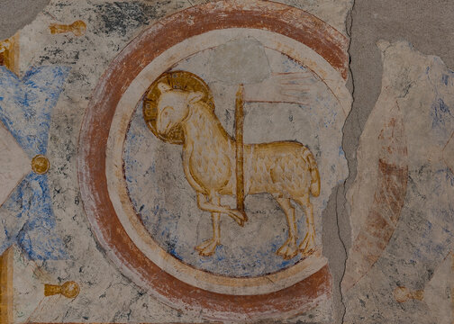 Lamb of God, a 700 years old romanesque mural