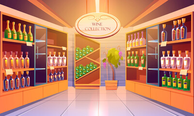 Wine shop, cellar interior with alcohol beverages collection, bottles on wooden shelves. Store in building basement with potted grapes vine, tiled floor and glow lamps. Cartoon vector illustration