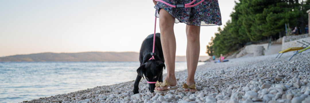 Woman walking her black shepherd dog with leash on the beach by the sea
